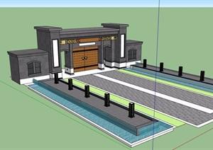 某现代中式风格砖砌景区大门设计SU(草图大师)模型