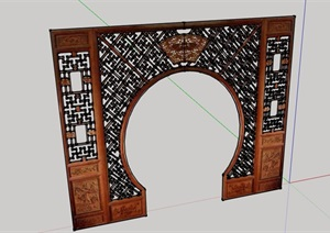 古典中式风格隔断门设计SU(草图大师)模型