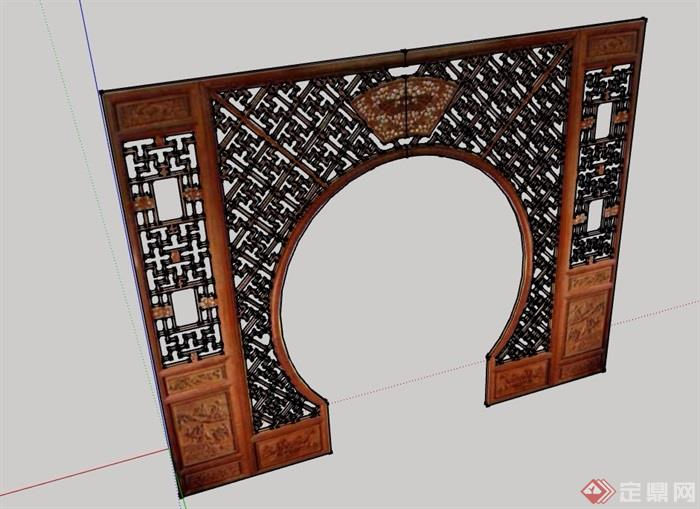古典中式风格隔断门设计su模型