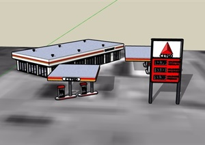 某码头加油站建筑设计SU(草图大师)模型