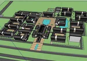 现代新中式高端康复养老中心老年公寓规划设计