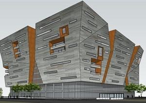 现代创意象形仿山石切削断裂几何雕塑式厚重形体感石表皮城市规划展览中心博物文化馆
