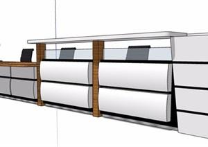 现代商务风前台服务台设计SU(草图大师)模型