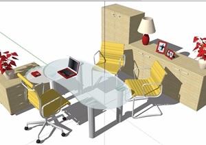 现代简约风格玻璃办公桌椅及柜子SU(草图大师)模型