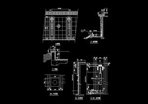 现代园林景观景墙设计cad施工图