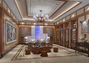 高端会所现代中式茶室模型