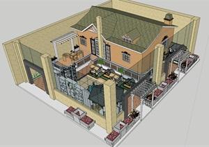 户外家具(景观小品 木屋 木制品)展厅模型