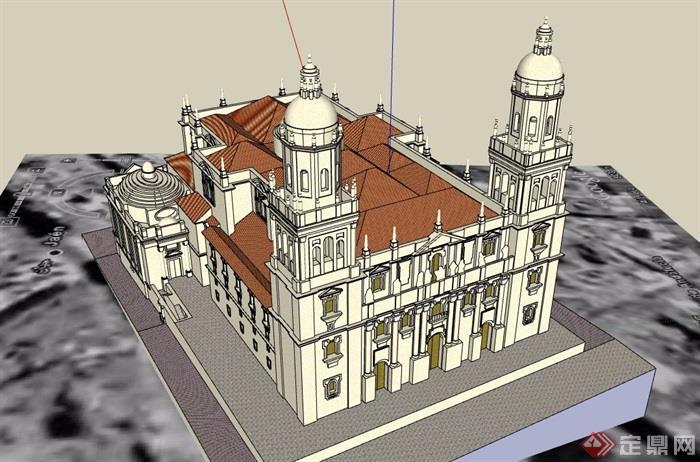 某欧洲大教堂建筑设计su模型