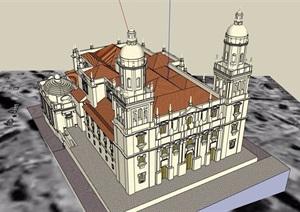 某欧洲大教堂建筑设计SU(草图大师)模型