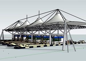 某现代高速公路收费站建筑SU(草图大师)模型