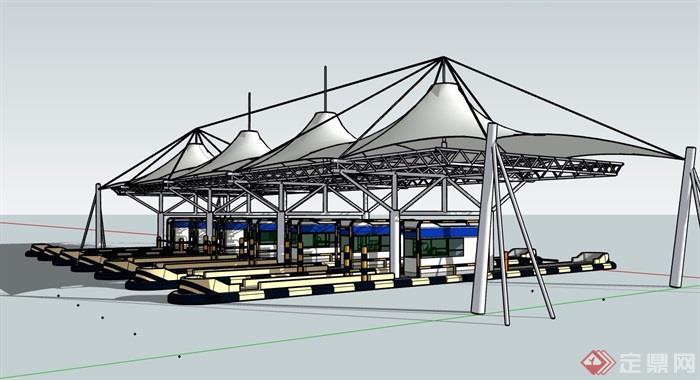 某现代高速公路收费站建筑su模型