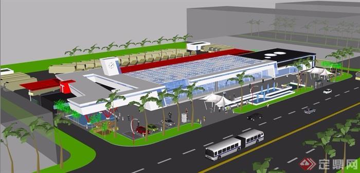 某现代造型丰富的客运站设计su模型