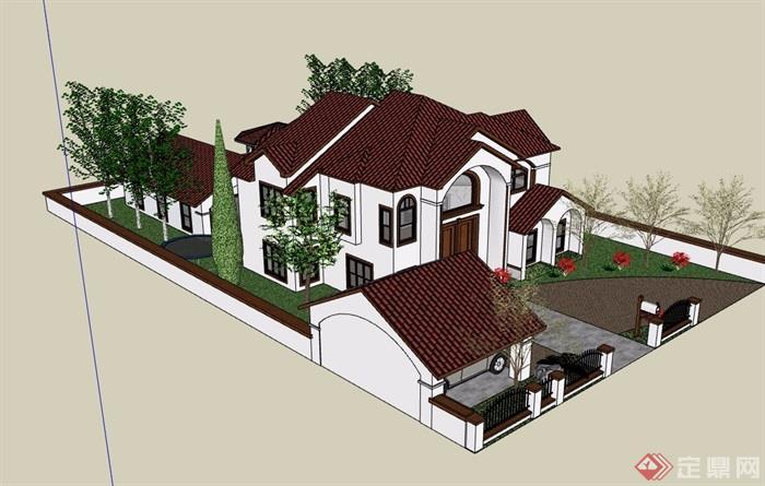 坡屋顶别墅详细建筑su模型