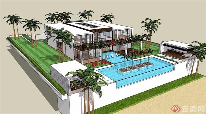 某现代两层详细的私人别墅su模型