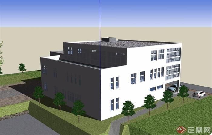 现代详细小办公楼设计su模型