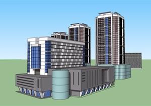 多栋商业办公建筑SU(草图大师)模型