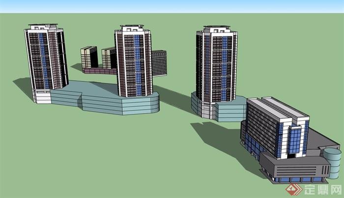 多栋商业办公建筑su模型