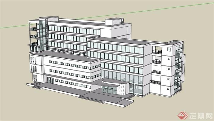 现代多层详细的办公建筑楼su模型