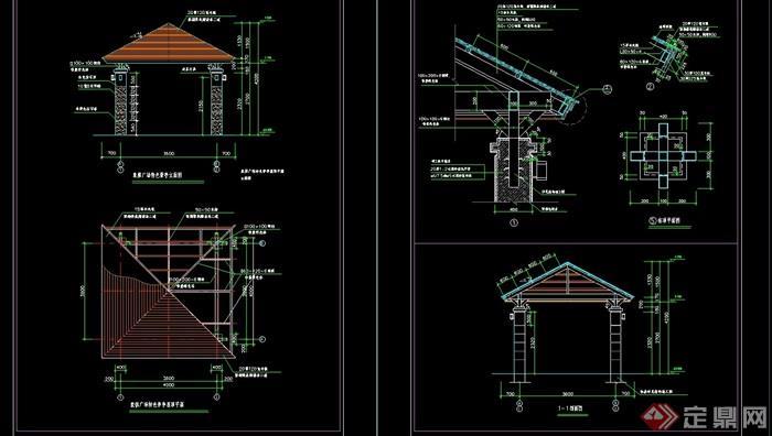 完整的景观亭设计cad施工图