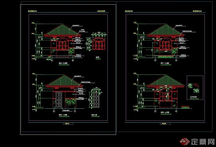 欧式风格详细的亭子cad施工图