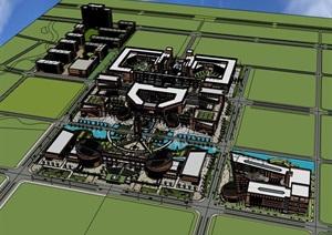 现代砖砌表皮博塔式红砖建筑科技科研创新教育基地创业产业园区办公生产总部基地