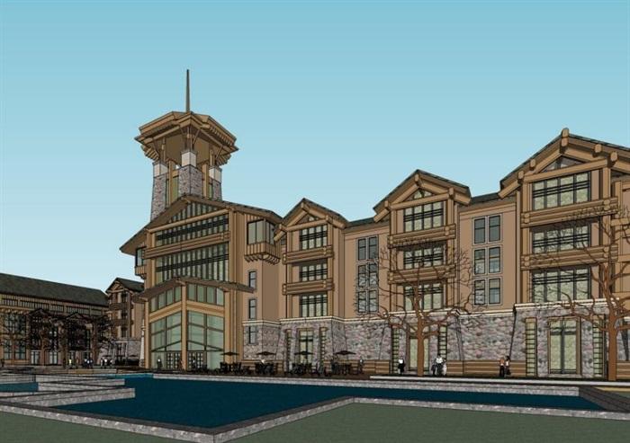 现代中式木构石材表皮度假旅游精品酒店商业会所群规划(2)