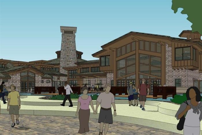 现代中式木构石材表皮度假旅游精品酒店商业会所群规划(1)