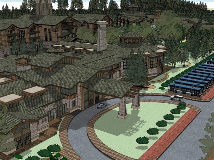 现代中式木构石材表皮度假旅游精品酒店商业会所群规划(3)