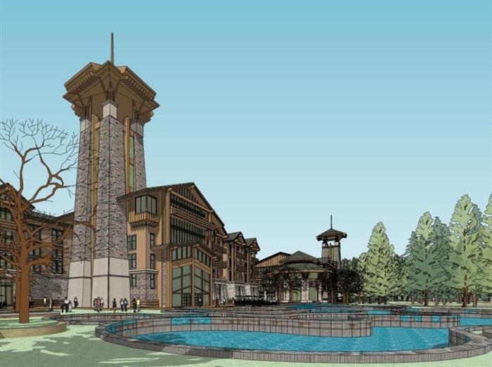 现代中式木构石材表皮度假旅游精品酒店商业会所群规划(4)