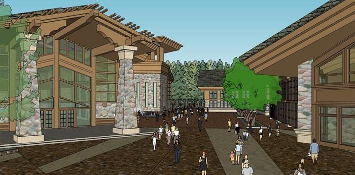 现代中式木构石材表皮度假旅游精品酒店商业会所群规划(6)