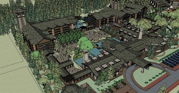 现代中式木构石材表皮度假旅游精品酒店商业会所群规划(8)