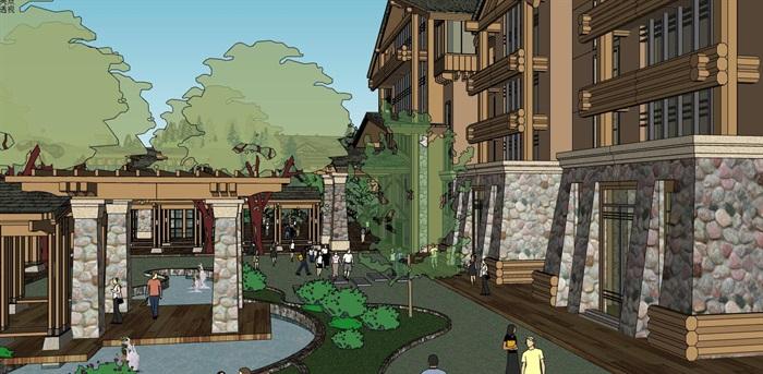 现代中式木构石材表皮度假旅游精品酒店商业会所群规划(10)