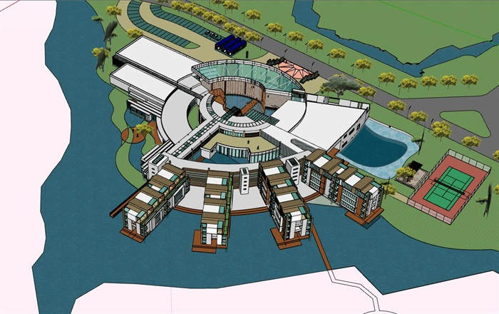 现代创意水上圆形中心发散式度假酒店民宿会所群规划(1)