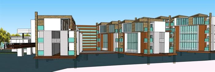 现代创意水上圆形中心发散式度假酒店民宿会所群规划(2)