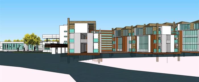 现代创意水上圆形中心发散式度假酒店民宿会所群规划(3)