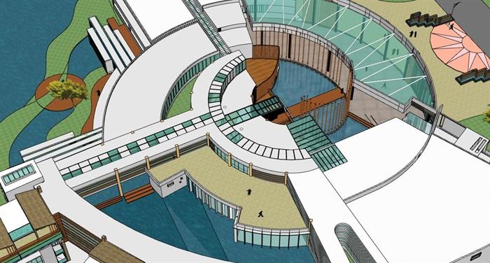 现代创意水上圆形中心发散式度假酒店民宿会所群规划(5)