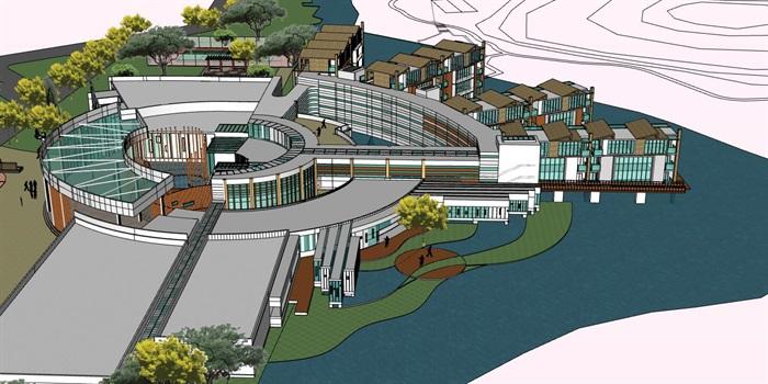 现代创意水上圆形中心发散式度假酒店民宿会所群规划(6)