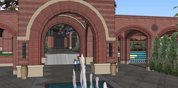 现代砖拱母题红砖表皮欧式经典住宅区售楼处示范区市民活动会所商业中心(2)