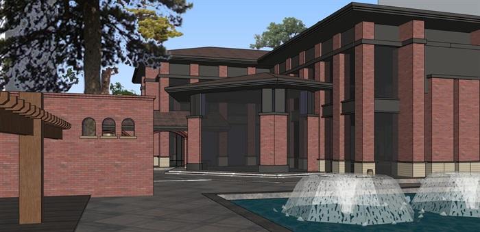 现代砖拱母题红砖表皮欧式经典住宅区售楼处示范区市民活动会所商业中心(3)