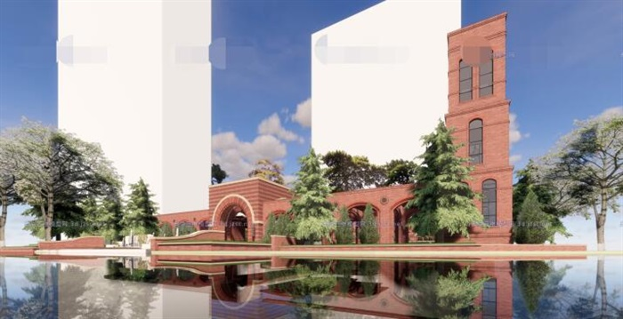 现代砖拱母题红砖表皮欧式经典住宅区售楼处示范区市民活动会所商业中心(5)