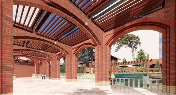现代砖拱母题红砖表皮欧式经典住宅区售楼处示范区市民活动会所商业中心(7)