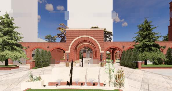 现代砖拱母题红砖表皮欧式经典住宅区售楼处示范区市民活动会所商业中心(6)