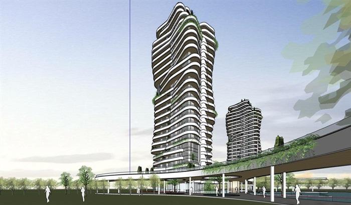 现代创意参数化渐变扭动造型窗台栏板高层高端住宅楼(1)