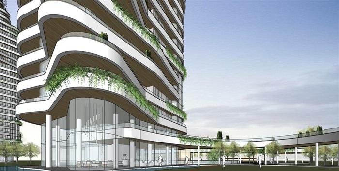 现代创意参数化渐变扭动造型窗台栏板高层高端住宅楼(3)