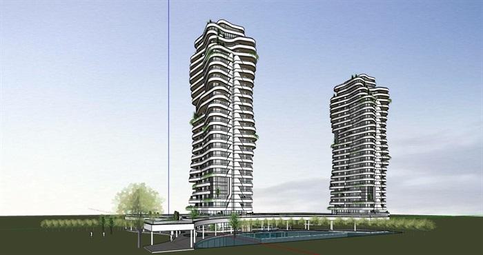 现代创意参数化渐变扭动造型窗台栏板高层高端住宅楼(5)