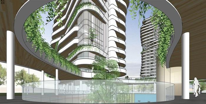 现代创意参数化渐变扭动造型窗台栏板高层高端住宅楼(4)