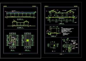 中式详细的亭廊素材设计cad施工图