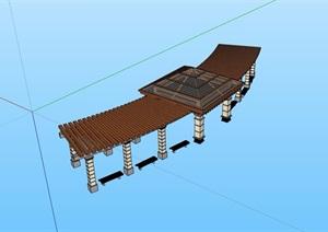 简欧风格亭廊组合设计SU(草图大师)模型