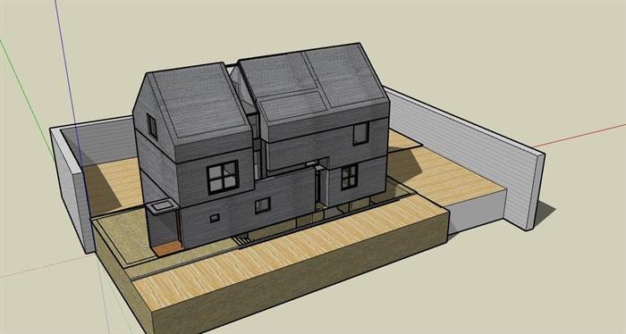 现代先锋创意简约坡屋顶清水混凝土私人住宅别墅(1)