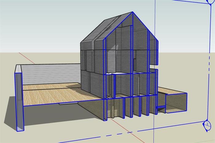 现代先锋创意简约坡屋顶清水混凝土私人住宅别墅(3)